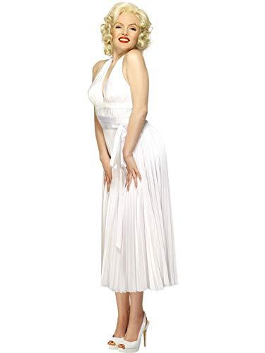 Halloweenia - Damen Frauen Marilyn Monroe Classic Kostüm, Neckholder-Kleid, perfekt für Karneval, Fasching und Fastnacht, M/L, Weiß (Marilyn Monroe Und James Dean Kostüm)