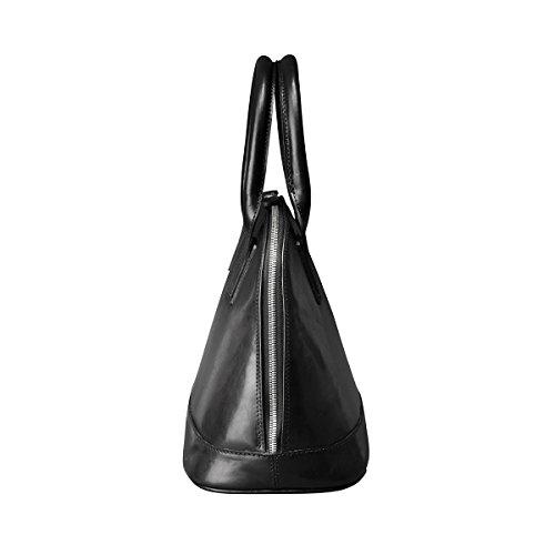 Maxwell Scott Bags® PERSONNALISABLE! Sac à Main Compartiment Unique Cuir Noir (Rosa) Noir
