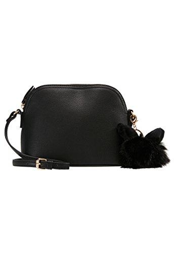Even&odd borsa a tracolla da donna - borsetta da donna piccola con pendente in pelliccia, nero, one size