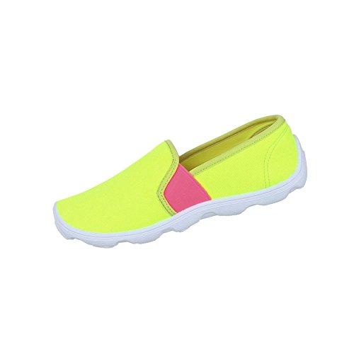 Sapatos Femininos Neon Deslizador Baixos Amarelo Sapatos qHOq7Wp