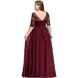 MisShow Robe de Gala Longue Maxi Robe de Soirée Ado Elégante Robe pour Soirée Demoiselle d'honneur en Dentelle Grande Taille Bordeaux 50