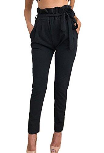 Damen Elegant High Waist Chiffon Stretch Pants Skinny Hosen Casual Streetwear einfarbig Lange Hose mit Tunnelzug, Schwarz, Gr. 38