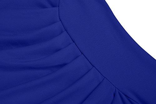 Zearo Sexy Robe Femme Moulant Crayon Robe de Cocktail Tunique Midi Côté Proue Slant Plaine Bleu