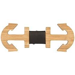 Snobbop Pajarita Woody Ancla grande bambú madera cierre de gancho corbata de moño