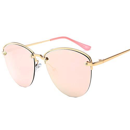 LXQ Halb Rahmen Metall Sonnenbrille Mode echte Film Metal Sonnenbrille Outdoor Reisereise,b