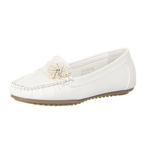 Damen Schuhe, B807-BL, MOKASSINS Weiß
