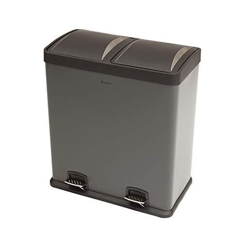 Homra Luxus Mülltrennsysteme - 2 Fach (2 x 30 L) Abfalleimer mit Inneneimer - Mülltrenner mit Pedal (Anthrazit)