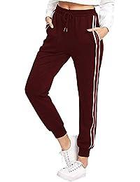 ba02b8119fee82 Fooyou Damen Hosen Casual Streifen Sweathose Elasticher Bund Jogginghose  Sporthose mit Taschen