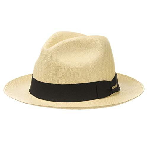 Stetson Chapeau Panama Norwell Homme - Made in Ecuador Chapeaux de Paille en avec Ruban Gros Grain Printemps-ete - M (56-57 cm) Nature