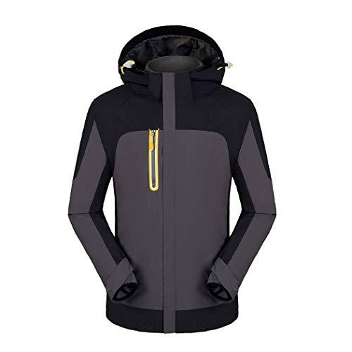 Huifa cerniera invernale da uomo e donna invernale da sci alpinismo con cappuccio antivento giacca antivento impermeabile antivento (colore : gray, dimensioni : xs)