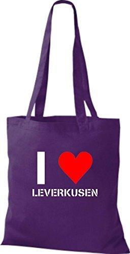 ShirtInStyle Stoffbeutel I LOVE LEVERKUSEN Deine Stadt diverse Farbe purple