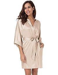 11b01119331 SIORO Womens Dressing Gown-Silk Satin Ladies Bathrobe, Kimono Bridesmaid  Robe for Wedding Party