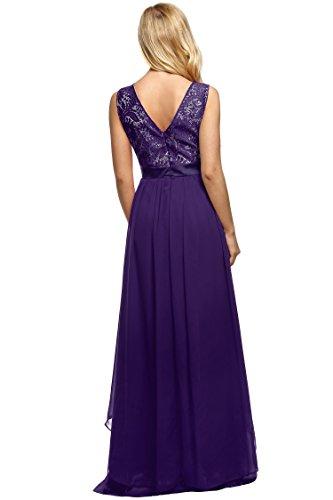 CRAVOG Abendkleider Maxikleid Lange Sommerkleider elegantes Spitzenkleid Lila