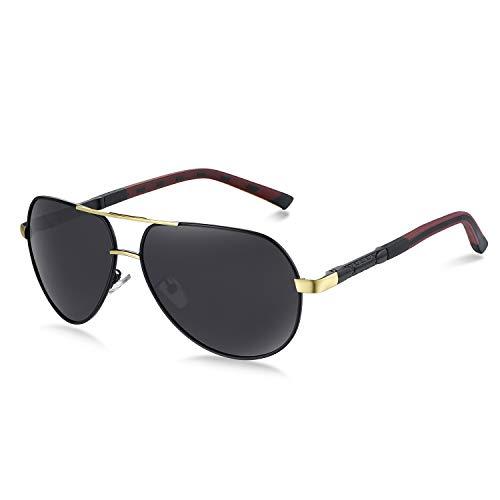 WHCREAT Herren Polarisierte Sonnenbrille Klassische Pilotenbrille mit UV400-Schutz (Gold Rahmen - schwarze Linse) -