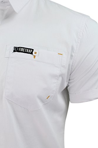Firetrap Sebbon - Herren Hawaiihemd mit kurzen Ärmeln Elyne - White