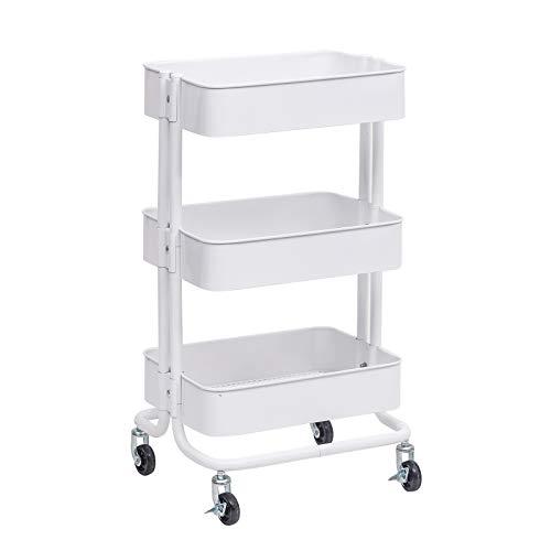 WOLTU Küchenwagen Rollwagen Servierwagen Küchentrolley Metall Roll Regal für Küche Bad Büro mit Rollen 3 Etagen Weiß RW005ws