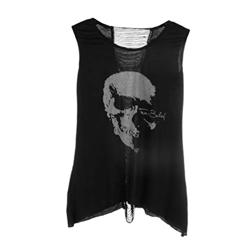 Wenwenzui Summer Women T-Shirt Hollow Out Skull Head Printing Lady Top Sexy Camisole Black Brush-denim