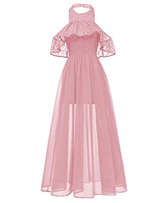 Bright Deer Women's Floral Lace Sheer Chiffon Elegant Party Cocktail Evening Dress