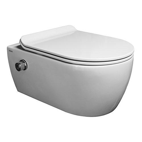 SSWW Spülrandloses Taharet WC inkl. Armatur und ultraflachen Softclose Sitz & Beschichtung Dusch-WC Intimdusche Toilette mit Bidetfunktion Shattaf