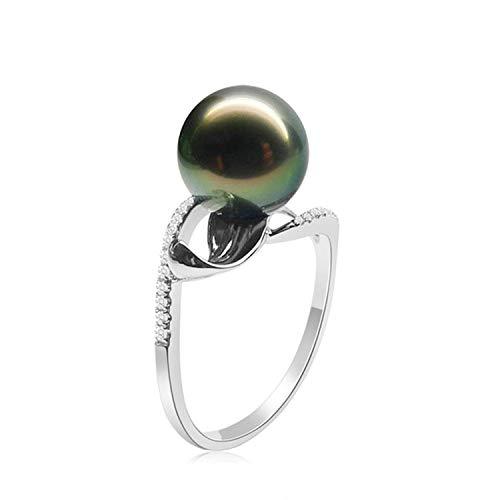 Amody Größe Sterling Silber Ring für Frauen Tahiti Black Pearl Hochzeitsband Größe 57 (18.1)