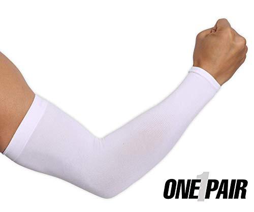 ksnrang sport raffreddamento dei manicotti unisex sun protezione uv di banda mani di copertura di compressione guanto manica per tutte le attività all'aperto di protezione della pelle (bianca, 1 paio)