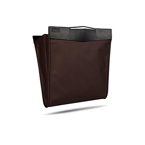 Braune Leder Platz (QIYUEQI 30 * 26 * 15 cm Braunes Leder Umweltfreundlich und leicht zu reinigen Auto Mülleimer Aufbewahrungstasche)