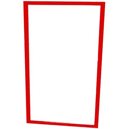 henbea Kinder Spiegel mit Holzrahmen, Kunststoff, rot, 120x 50cm