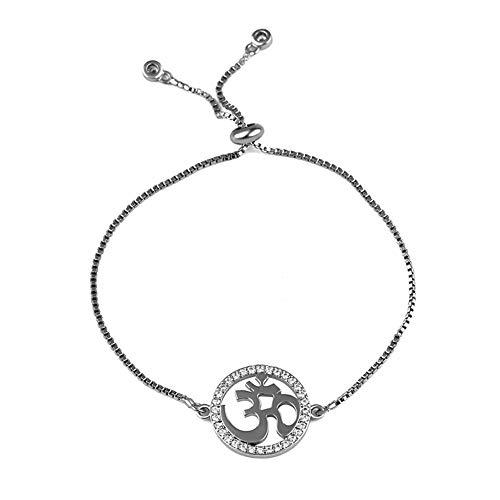 LUOYI Armbänder,Yoga Hindu-Buddhistischen Armband Verstellbare Kette Hinduismus Armband Frauen Männer Religiöses Symbol Armbänder Schmuck Schwarz