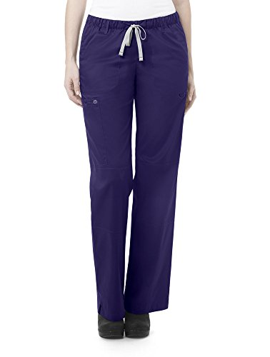 WonderWink Women's Petite-Plus-Size Wonderwork Straight Leg Cargo Scrub Pant, Grape, 3X-Large -