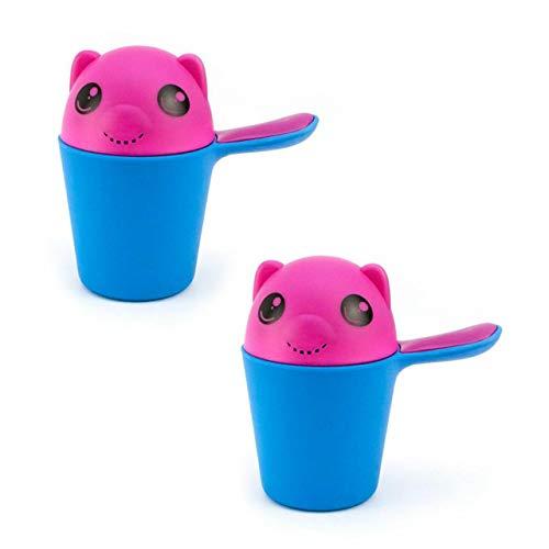 Lantelme Kinder Baby Badebecher 2 Stk Set 0,5 Liter Wasserbecher Badebedarf Badezubehör blau pink 6966