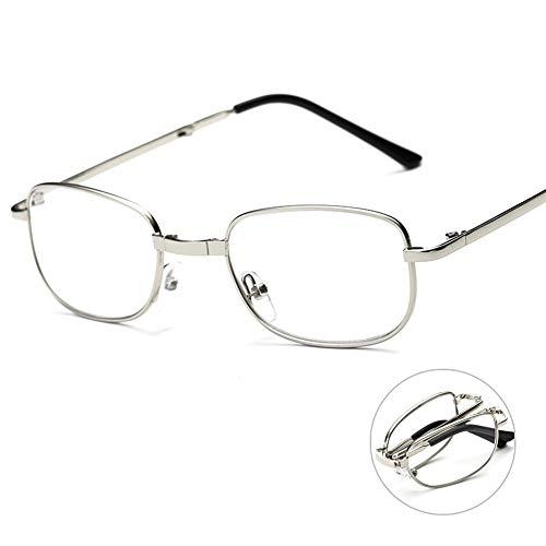 Zusammenklappbare Lesebrille, ultraleichte, Bequeme, tragbare Brille, Vollmetallrahmen, Kunststofflinse, für Männer und Frauen, im Büro im Freien tragend
