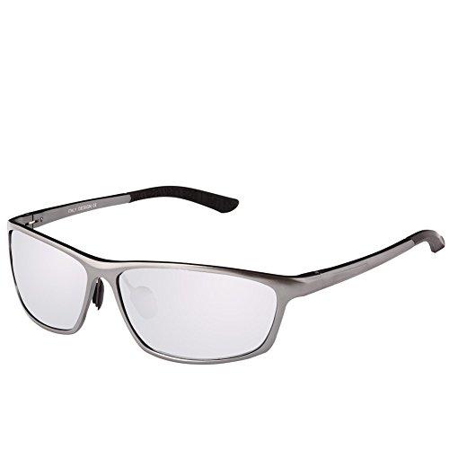 DUCO Herren Sport-Art polarisierte Sonnenbrille Treiber Brille 2179S (Gunmetal/Silber Verspiegelt)