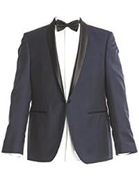 Masterhand Classics Smokingsakko Mitternachtsblau Schmaler Schalkragen Tailored Fit taillierter Schnitt Schurwolle und Mohairwolle Sakko Tobey