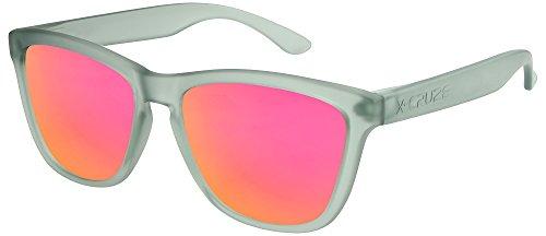 X-CRUZE® 9-041 X0 Nerd Sonnenbrillen polarisiert Style Stil Retro Vintage Retro Unisex Herren Damen Männer Frauen Brille Nerdbrille - grau-transparent matt / pink-orange verspiegelt