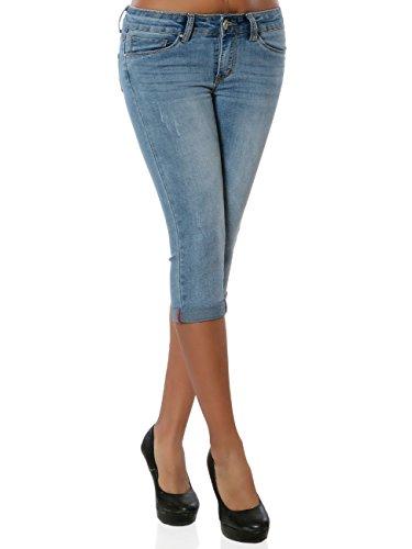 Daleus Damen High-Waist Capri-Jeans Sommerhose Kurze Hose No 15916 Blau M / 38