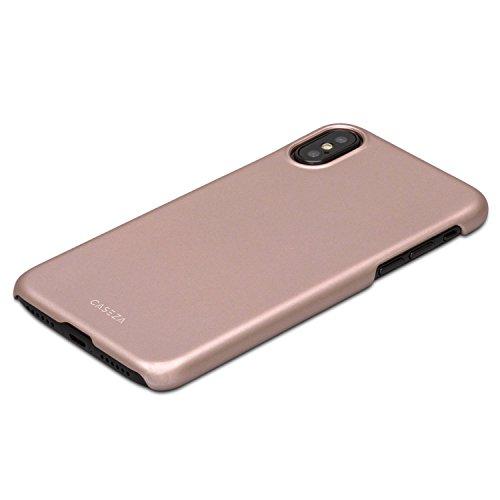 Cover iPhone X Nera - CASEZA Rio Custodia Case Posteriore Ultra Sottile con Finitura in Gomma Opaca - Protettiva Gommata Rigida - Aspetto e Sensazione di Qualità per iPhone X (5.8) Originale Oro Rosa iPhone X