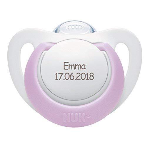 NUK Genius Schnuller mit personalisierter Gravur, Silikon, kiefergerecht, BPA-frei (violett, Silikon, 0-6 Monate)