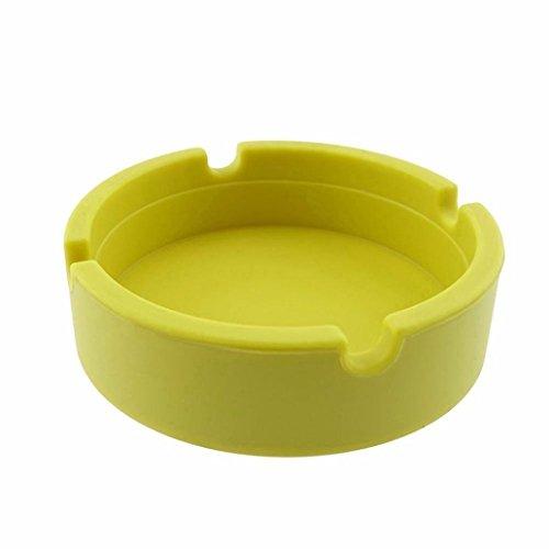 igemy silicona redondo cenicero Eco-friendly Colorfull Premium caucho de silicona de alta temperatura resistente al calor redondo diseño cenicero amarillo
