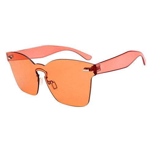 Ansenesna Sonnenbrille Verspiegelt Unisex Mode Chic Shades Acetat Rahmen UV Gläser Brille (Orange)