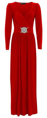 Chocolate Pickle ® Les nouvelles femmes Wrap Plus Boucle manches longues Robe longue 36-50 red