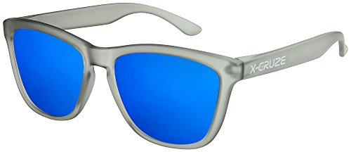 X-CRUZE® 9-037 X0 Nerd Sonnenbrillen polarisiert Style Stil Retro Vintage Retro Unisex Herren Damen Männer Frauen Brille Nerdbrille - grau-transparent matt LW/blau verspiegelt