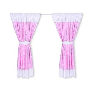 Amilian® Kinderzimmer Vorhänge 155 x 155 cm Set mit Schlaufen Baby Gardinen Vorhang Herzen Rosa/Weiß