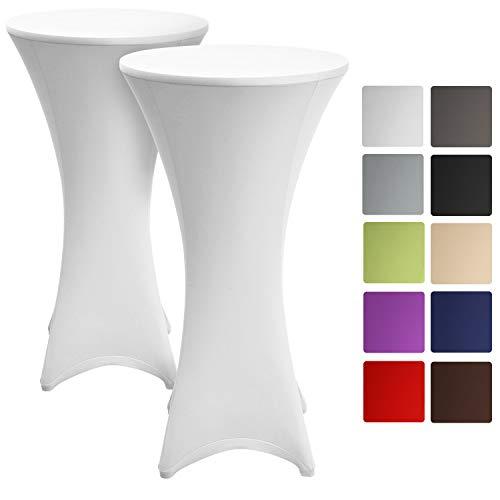 Beautissu Set de 2 Fundas elásticas para mesas Altas de pie Stella Ø 80-85 cm - Elegante egregio cobertor de Mesa en Blanco