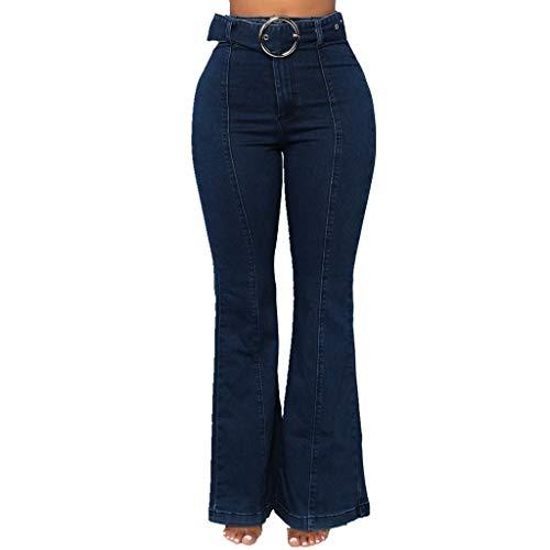SuperSU Jeans Damen◁ Frauen Mode High Waisted Solid Elastizität Leggings Schlaghosen Damen Lange Stretch Hose im Sexy Kick Flare Bootcut Hosen Schmeichelhaft Ausgestellte Jeans Stretch-kick Flare Jeans