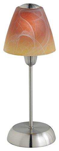 Leuchte Glas Tischleuchte (Trio Leuchten Tischleuchte, nickel matt / glas alabasterfarbig farbverlauf orange 5950011-18)