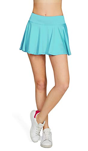 HonourSport Damen Tennisrock Skirt Minirock Sport Fitness Yoga Skort Falten, Hellblau, Gr.- S/EU 36-38