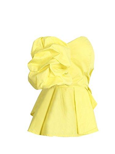 Simplee Apparel le donne sexy estate occasionale in maniche corte decorativo da spalla top senza spalline peplum top camicia di cotone giallo Yellow