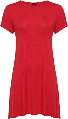WEARALL Damen Übergröße Schaukel Fackel Kleid Top Kurz Hülle Mini Bodycon Strecke Runde - 3 Farben - Größe 44-54 Rot