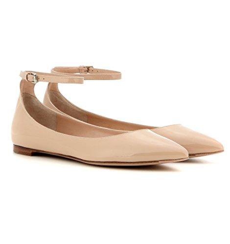 EDEFS - Ballerines Femme - Chaussures Plat - Classiques Pour Femmes - Bride Cheville Beige