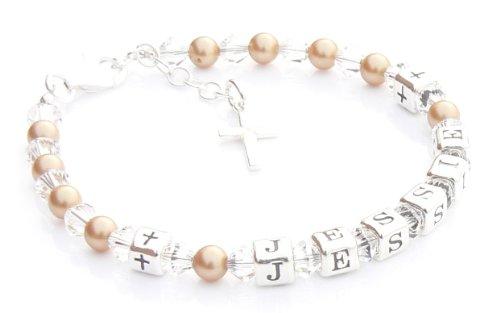 Vintage Doré pour enfant nom Bracelet - Cadeau de première communion - Boîte Cadeau personnalisé
